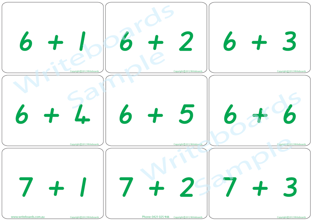Educational Arithmetic Bingo Game using QLD Modern Cursive Font handwriting. Addition and Subtraction to Twelve.