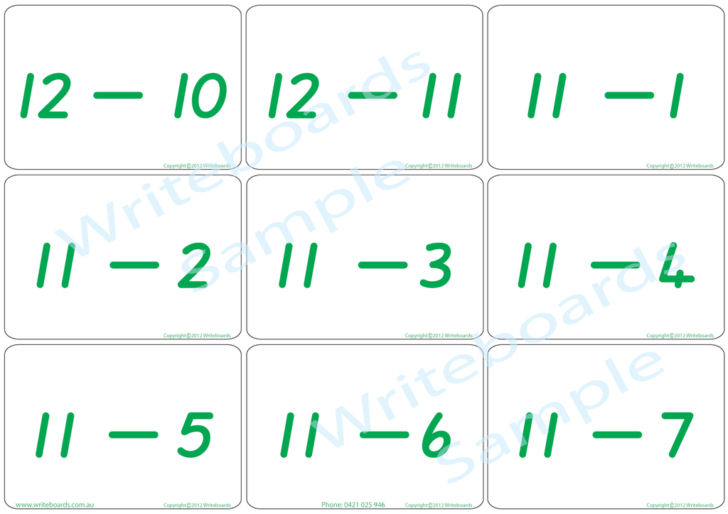 Arithmetic Bingo Game. Subtraction and Addition to Twelve completed in QLD Modern Cursive Font Handwriting.