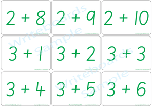 Educational Arithmetic Bingo Game using SA Modern Cursive Font handwriting. Addition and Subtraction to Twelve.