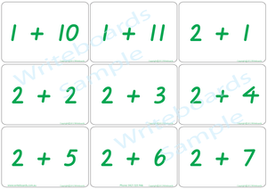 Educational Arithmetic Bingo Game using VIC Modern Cursive Font handwriting. Addition and Subtraction to Twelve.