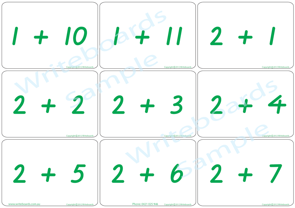 Arithmetic Bingo Game. Subtraction and Addition to Twelve completed in VIC Modern Cursive Font Handwriting.