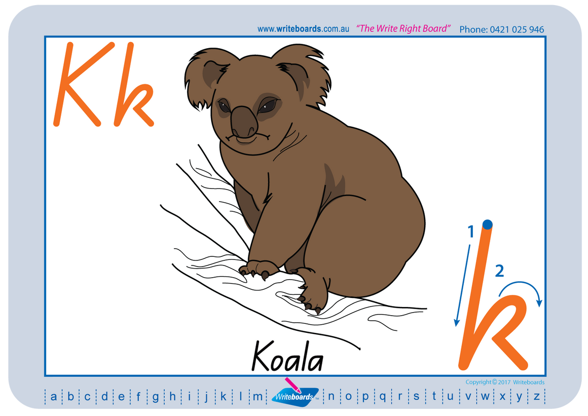 Australian Animal Alphabet worksheets using QLD Modern Cursive Font handwriting; fantastic for Special Needs Children.