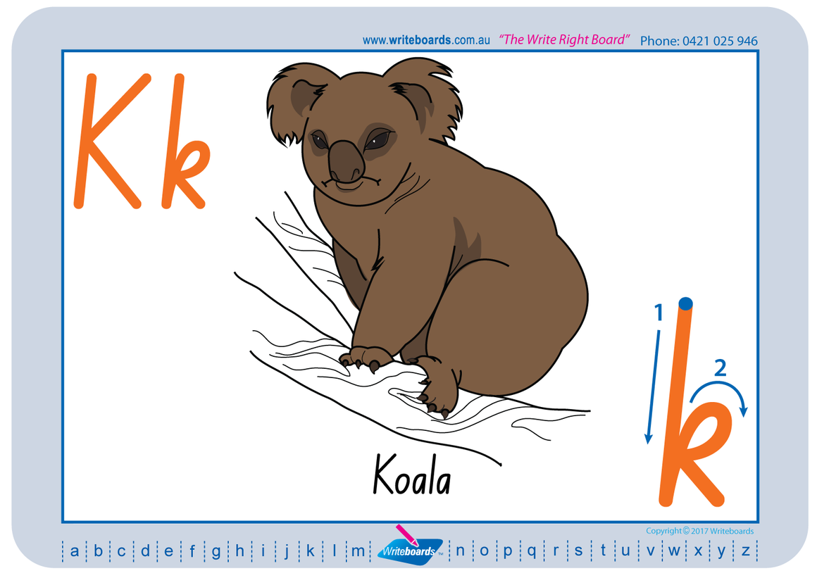 NSW Foundation Font Australian animal alphabet handwriting worksheets, NSW and ACT Australian animal tracing worksheets