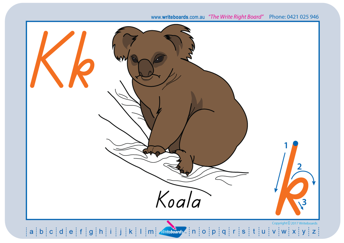 Australian Animal Alphabet Worksheets completed using TAS Modern Cursive Font for Occupational Therapists and Tutors