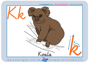 Australian Animal Alphabet worksheets using VIC Modern Cursive Font handwriting; fantastic for Special Needs Children.