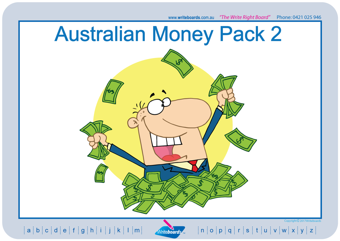 Special Needs Australian money worksheets and flashcards