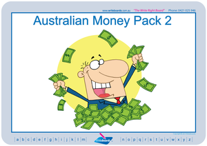 Australian money worksheets, flashcards and posters.