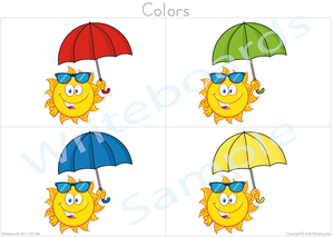 Busy Book Colors that your child has the color name to the umbrella