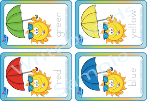 Free Color Flashcards come with our Umbrella Busy Pack
