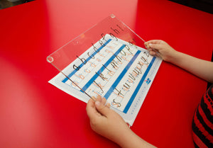Special Needs Handwriting Kit for QLD Modern Cursive Font includes our reusable writing board