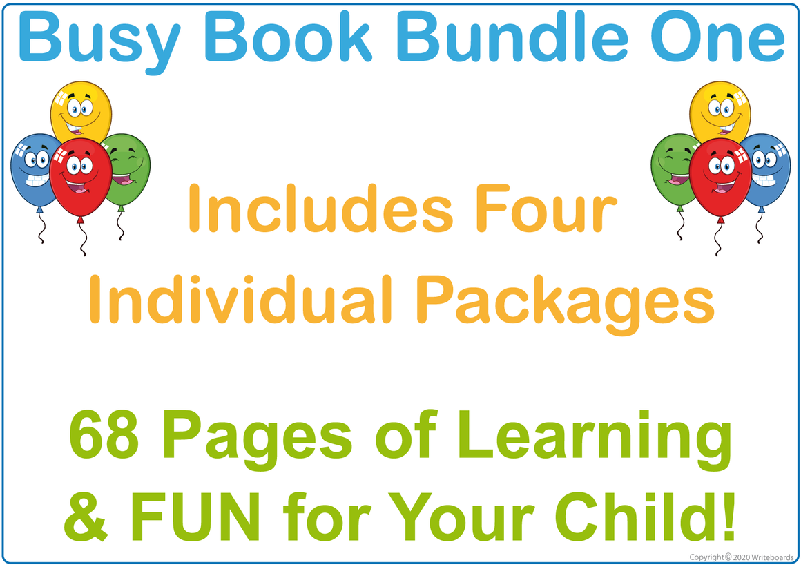 Busy Book Bundle for Toddlers, 68 Great pages of Fun and Learning