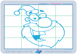 Teach your child how to draw Santa Claus and other Christmas related images using a grid