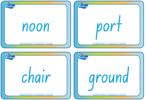 NSW Foundation Font Compound Words Flashcards that are colour coded for NSW and ACT