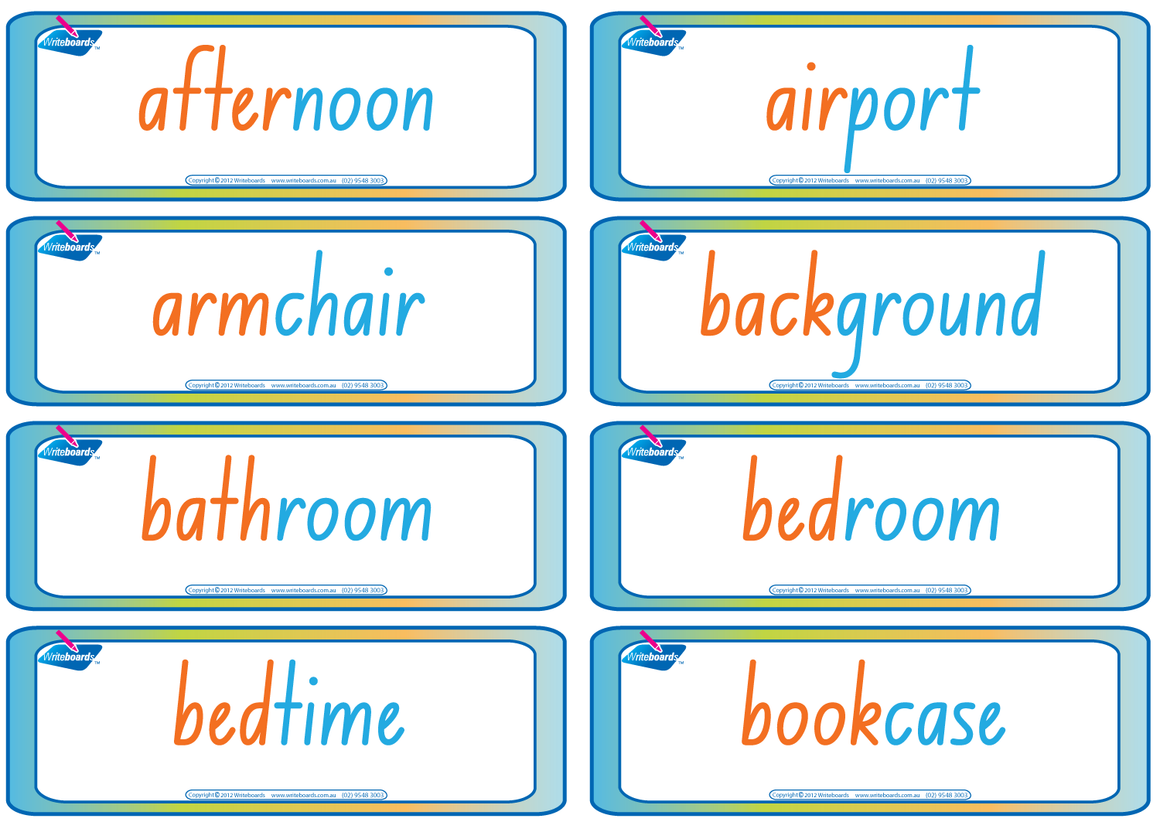 NSW Foundation Font Compound Words Flashcards. Colour coded NSW and ACT handwriting.