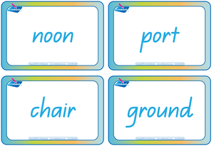 QCursive Compound Word Flashcards, Colour coded QLD Compound Words