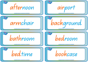 QLD Modern Cursive Font Compound Words Flashcards. Colour coded QLD handwriting.