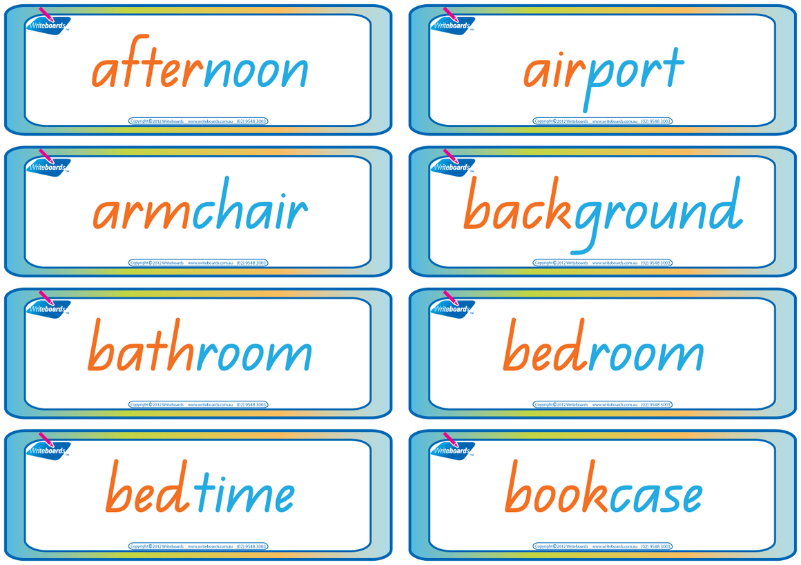QLD Beginners Font Compound Words Flashcards, Colour coded QLD Compound Words