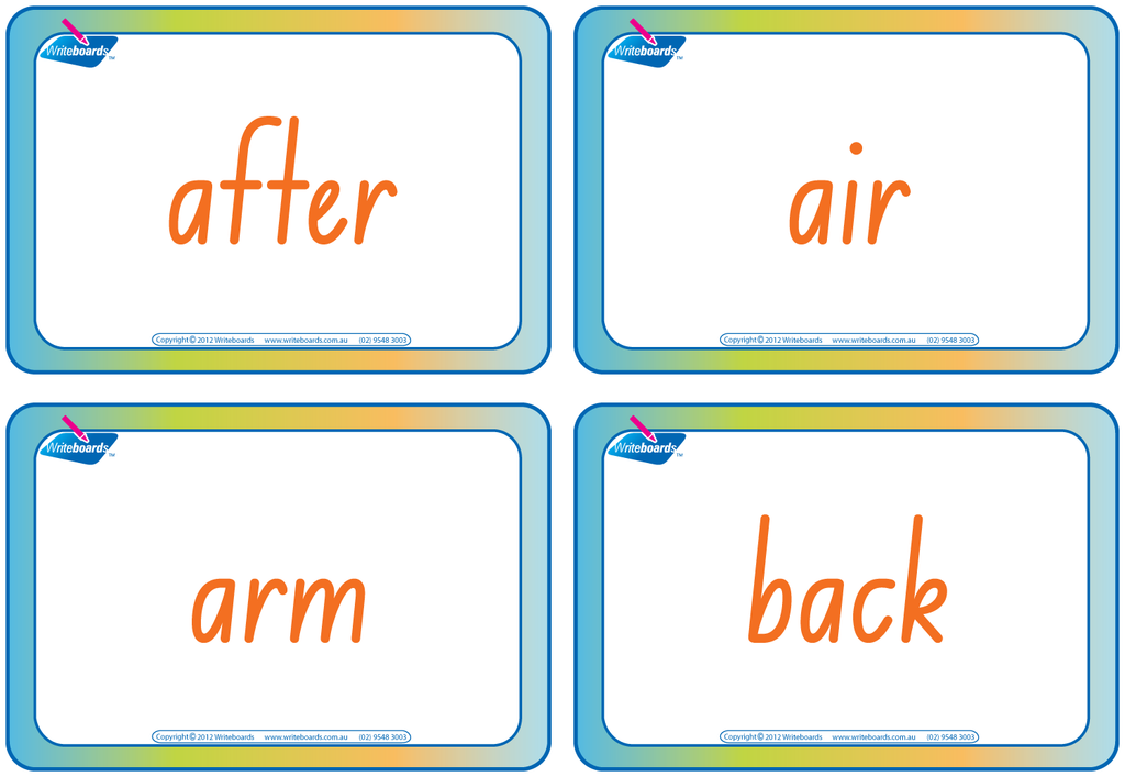 NSW Foundation Font compound word flashcards for teachers. These flashcards have colour coding.