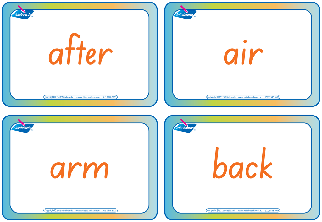 SA Modern Cursive Font compound word flashcards for teachers. These flashcards have colour coding.