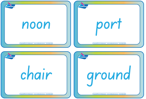 SA Modern Cursive Font Compound Words Flashcards. Colour coded SA handwriting.