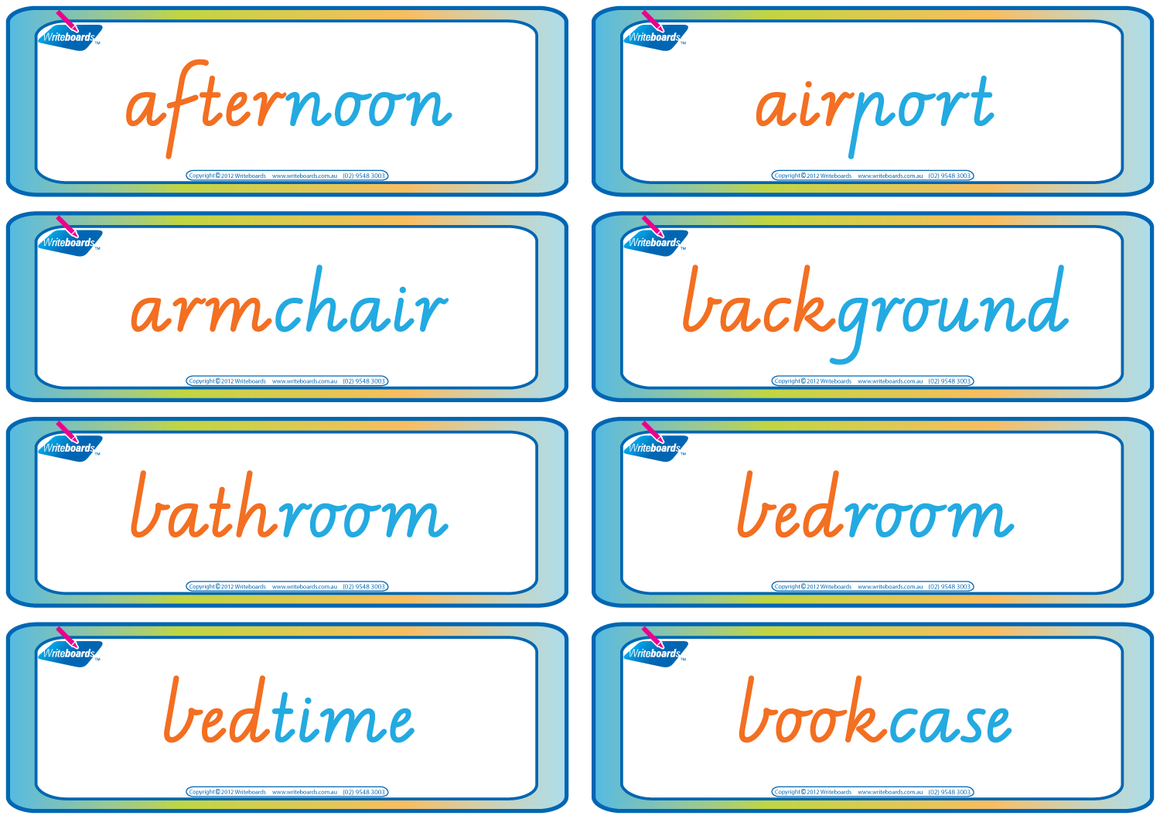 VIC Modern Cursive Font compound word flashcards for teachers. These flashcards have colour coding.