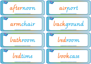 Compound Words Flashcards completed using VIC Modern Cursive Font. Fantastic for Special Needs children.