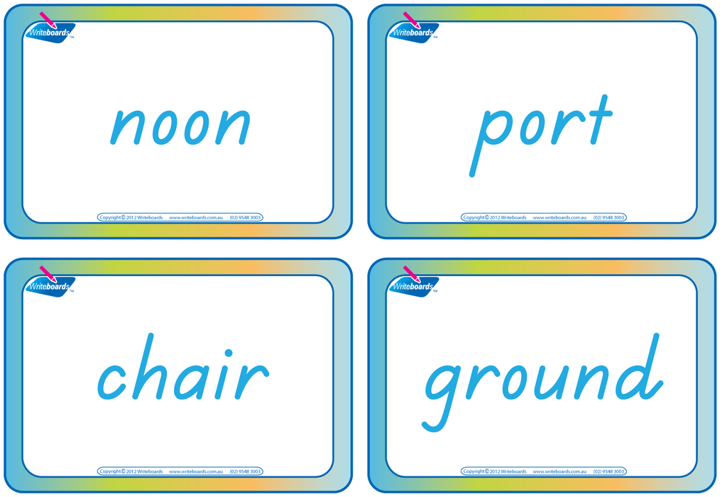 TAS Beginner Font Compound Words Flashcards. Colour coded TAS handwriting.