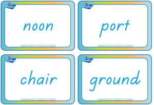 TAS Modern Cursive Font compound words flashcards, Colour coded compound word flashcards for TAS