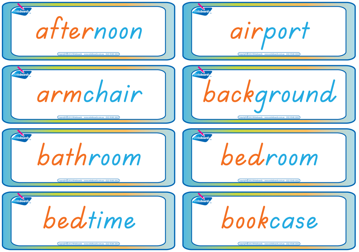 TAS Beginner Font Worksheets and flashcards with Compound Words created by Writeboards