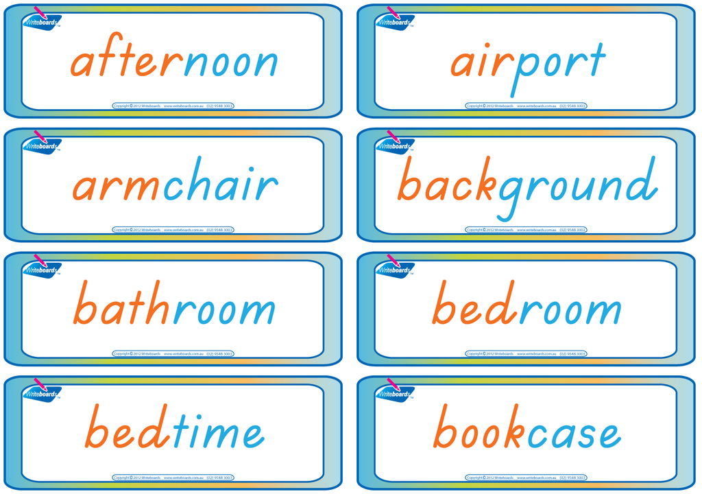 TAS Beginner Font compound word flashcards for teachers. These flashcards have colour coding.