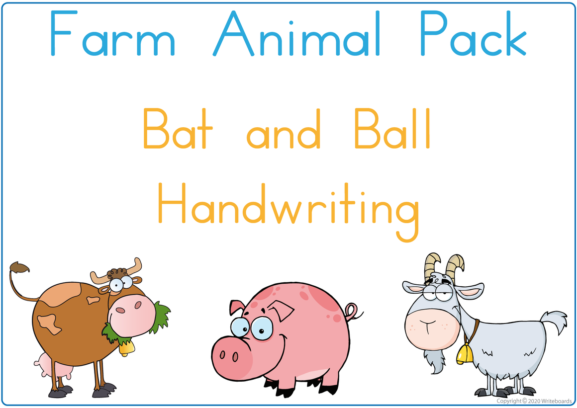 Busy Book Farm Animals is completed in Bat and Ball Handwriting