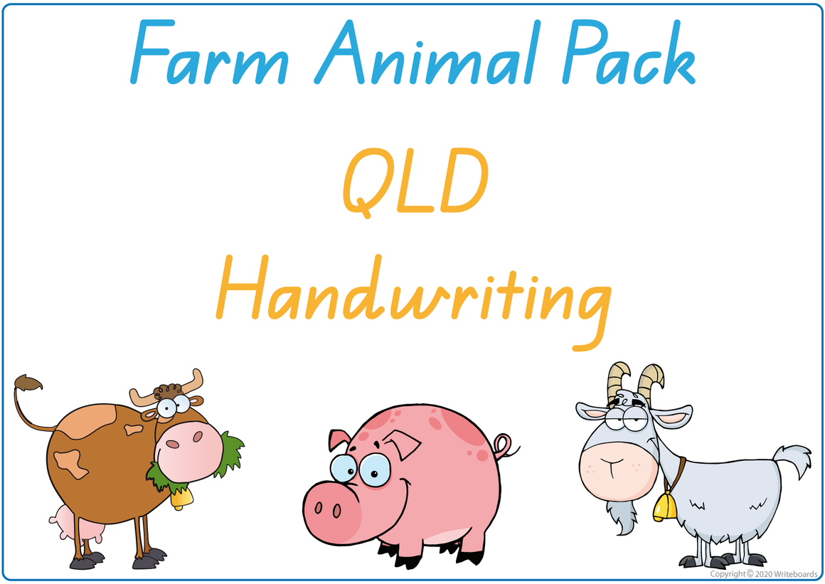 QLD Beginner Font Busy Book Farm Animals Pack also contains Flashcards and a Bingo game