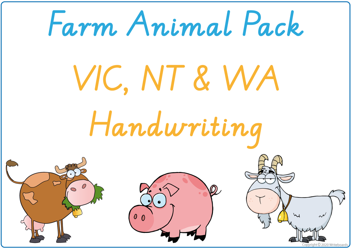 Busy Book Farm Animals Pack for VIC - WA & NT Handwriting