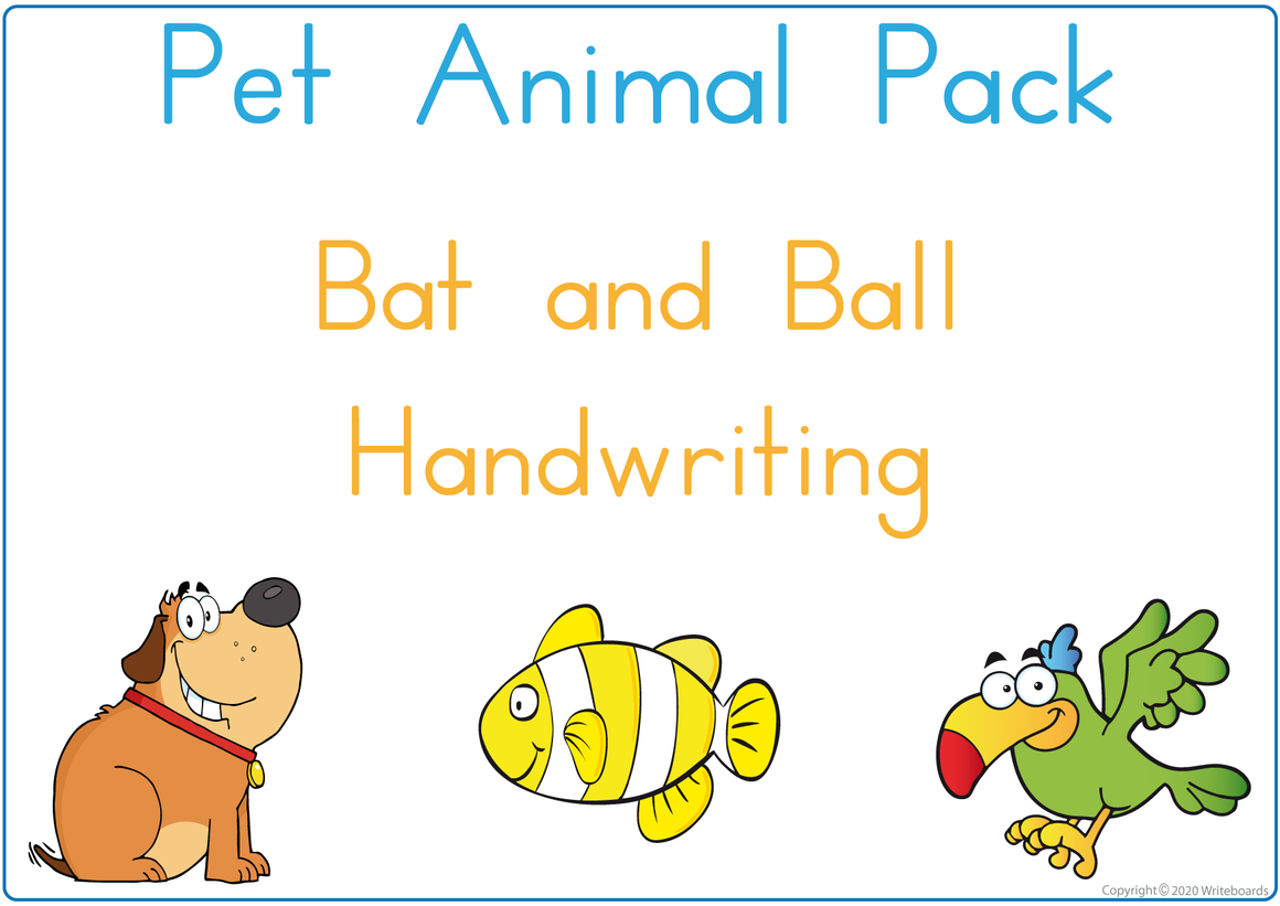 Pet Animals - Bat and Ball Handwriting