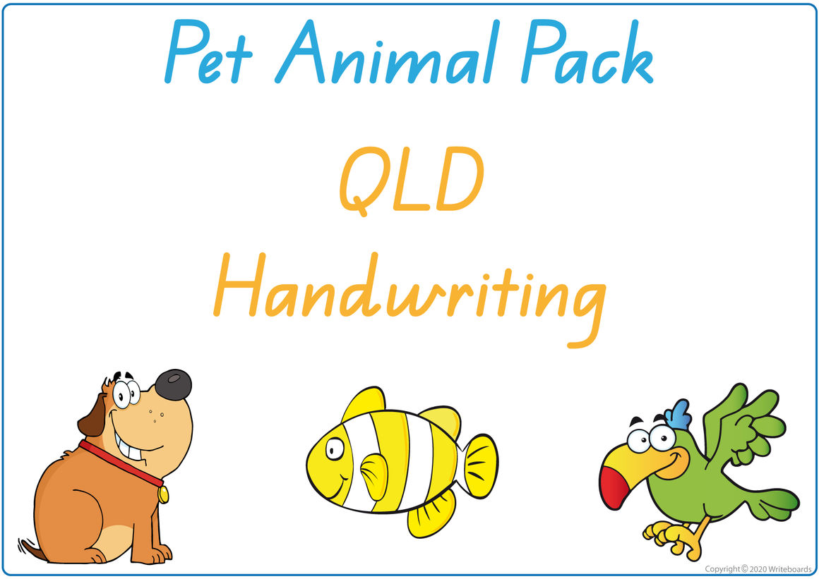 QLD Beginner Font Busy Book Pet Animals Pack also contains Flashcards and a Bingo game