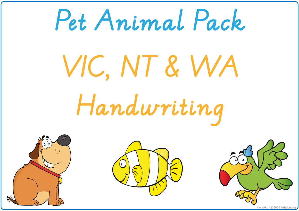 Pet Animals - VIC, WA and NT Handwriting