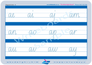 NSW Foundation Font Cursive handwriting worksheets for Occupational Therapists and Tutors