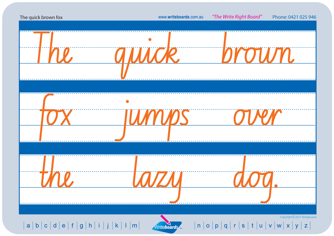 NSW Foundation Font Cursive Writing worksheets. Cursive handwriting for ACT and NSW. Writeboards.