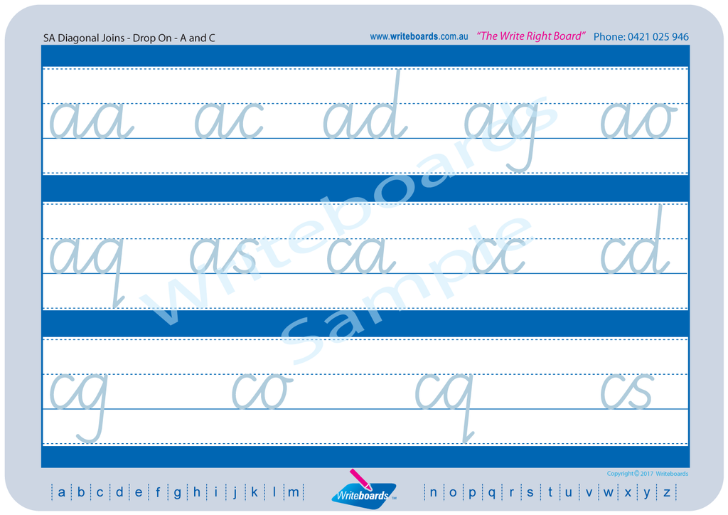 SA Modern Cursive Font Cursive handwriting worksheets. Teachers resources for SA schools.