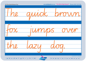 SA Modern Cursive Font Cursive Writing worksheets. Cursive handwriting for SA. Writeboards.