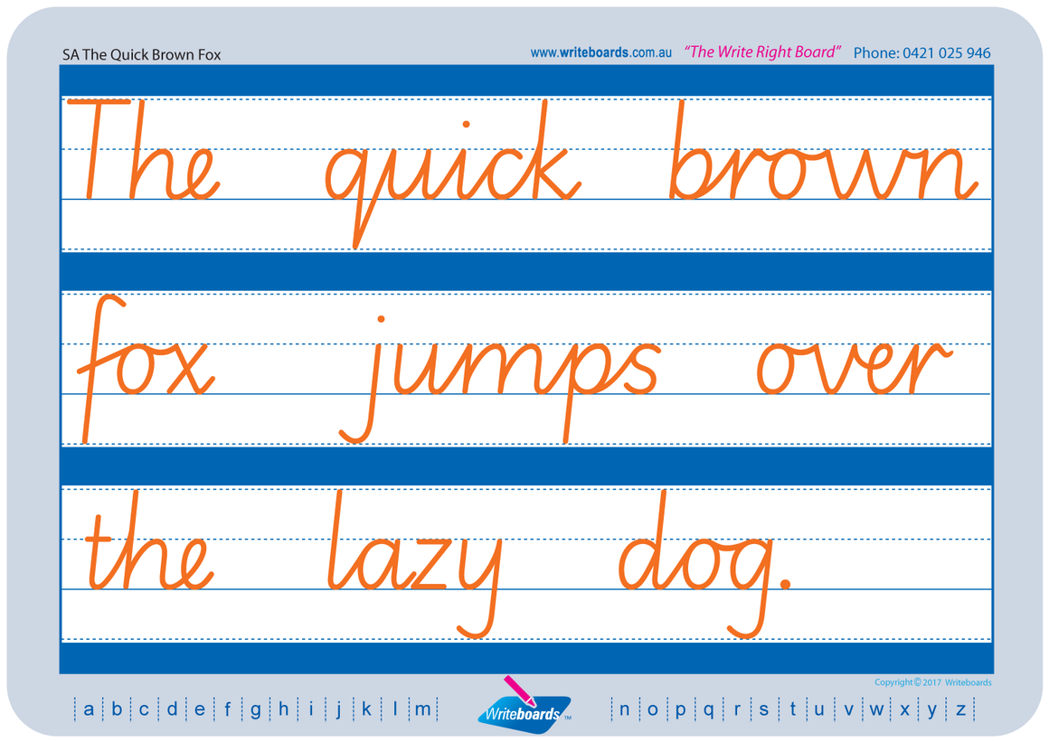 SA Modern Cursive Font Worksheets using Cursive Writing created by Writeboards