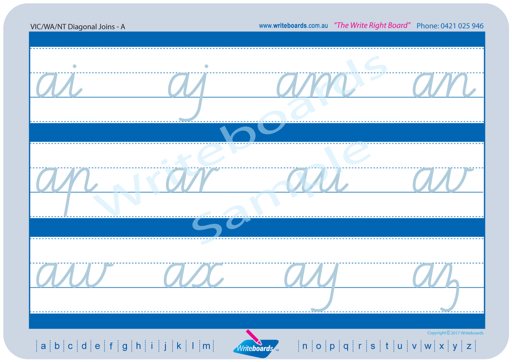 VIC Modern Cursive Font Worksheets using Cursive Writing created by Writeboards