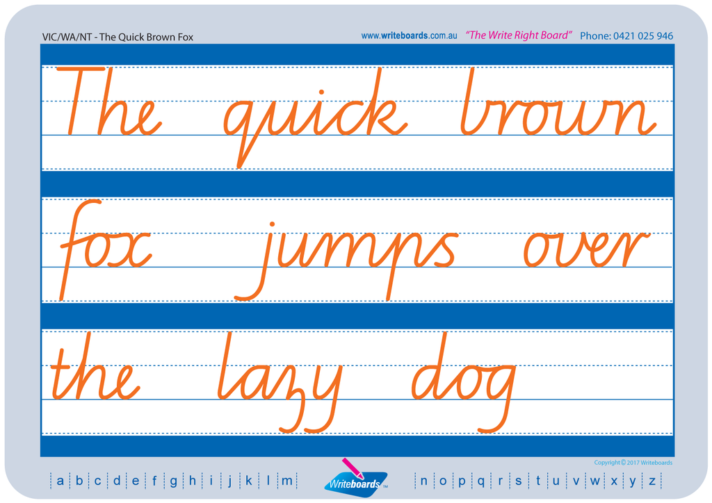 VIC Modern Cursive Font Cursive handwriting worksheets. Teachers resources for VIC, NT and WA schools.