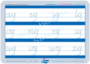 VIC Modern Cursive Font Cursive Writing worksheets. Cursive handwriting for VIC, WA and NT. Writeboards.