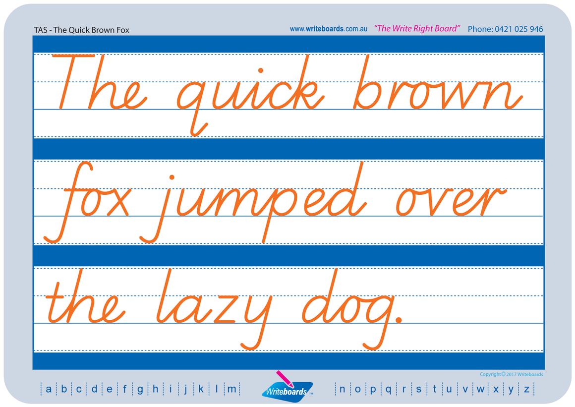 TAS Beginner Font Cursive Writing worksheets. Cursive handwriting for TAS. Writeboards.
