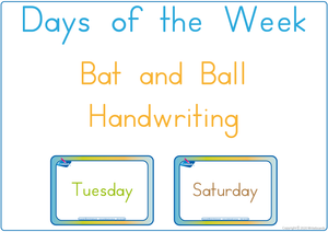 Learning the Days of the Week - Bat and Ball Handwriting