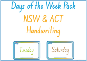 Busy Book Days of the Week completed using NSW Foundation Font