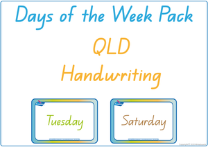 Busy Book Days of the Week completed using QLD Beginner Font