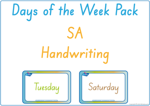 Busy Book Days of the Week completed using SA Beginner's Font