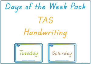 Busy Book Days of the Week completed using TAS Beginner's Font